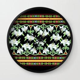 Elizabethan Lily Folkloric Stripe Wall Clock