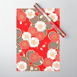 Japanese Vintage Red Black White Floral Kimono Pattern Wrapping Paper