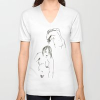 nudes V-neck T-shirts featuring Nudes by B. West