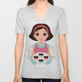 Kitchen woman with Cookies Unisex V-Neck