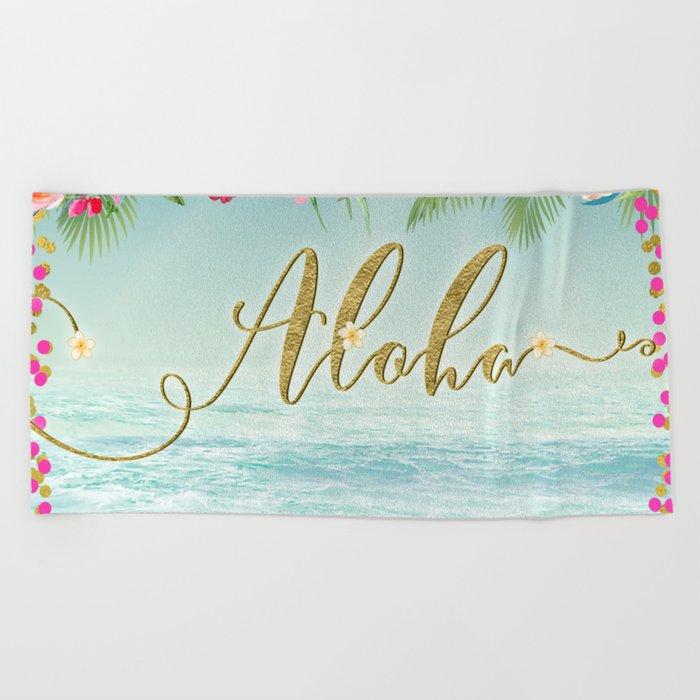 Golden Aloha Beach Towel By Christyne