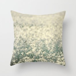 Alone in the canola field Throw Pillow
