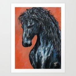 Friesian Horse Original Painting Art Print