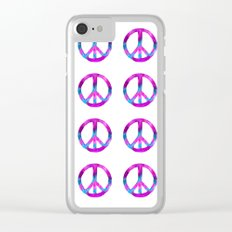 Purple Blue Watercolor Peace Sign Clear iPhone Case