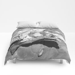 Driftwood on Sandy Beach Comforters