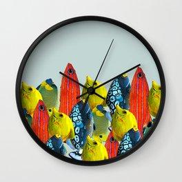 Tropical Fish Pattern Home decor Duck Egg Blue  Wall Clock
