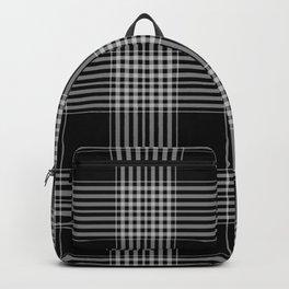Black & Gray Plaid Print Backpack