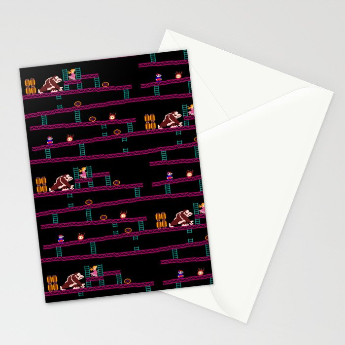 Donkey Kong Retro Arcade Gaming Design Stationery Cards