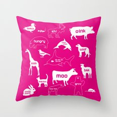 Animal Noises in Pink Throw Pillow