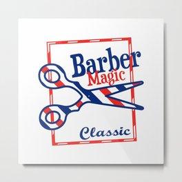 Barber Magic - red, white, blue Metal Print
