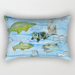 Otters and Carp Rectangular Pillow