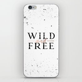 Wild and Free Rose Gold on White iPhone Skin
