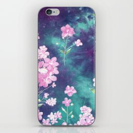 Abstract hand painted pink turquoise purple watercolor floral iPhone Skin