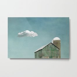 Green Barn and a Cloud Metal Print