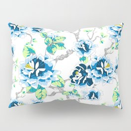 Chinoiserie Ming style Blue Floral on White Pattern Spring Flowers Shabby Chic Pillow Sham