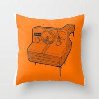 polaroid Throw Pillows featuring polaroid by TMSYO