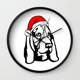 Basset Hound Dog with Christmas Santa Hat Wall Clock