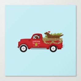 Chocolate Lab Labrador Dog Vintaged Red Christmas Truck  Canvas Print