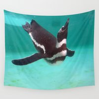 swim Wall Tapestries featuring Penguin Swim by Sammycrafts