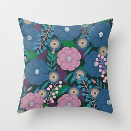 Floral garden in purple and blue Throw Pillow