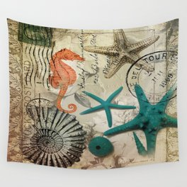 french botanical art seahorse teal green starfish Wall Tapestry