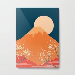 Japanese Mount Fuji Retro Pop Art Landscape Metal Print