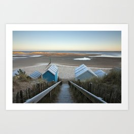 Frost covering beach huts and steps at sunrise. Wells-next-the-sea, North Norfolk Coast, UK Art Print