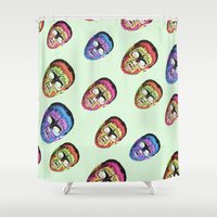 political Shower Curtains featuring Gods and monsters by Laura Nadeszhda