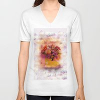 flora V-neck T-shirts featuring Flora  by Music of the Heart