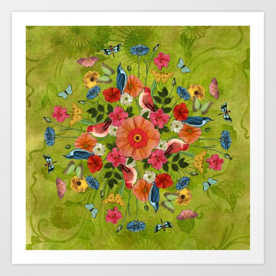 Happy Day Bouquet in Green Art Print