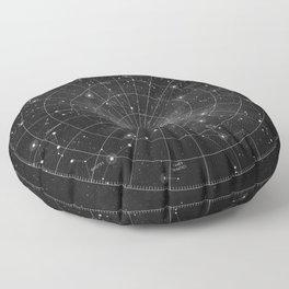 Constellation Star Map (B&W) Floor Pillow