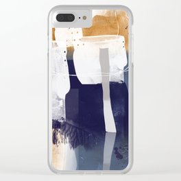 Abstract - Bush Telegraph Drums in Dark Blue and Gold Clear iPhone Case