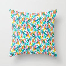 Paradise Watercolor Ikat Throw Pillow