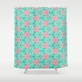 Millennial Pink Chenille and Mint Anchor  Pattern Shower Curtain