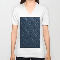 lv V-neck T-shirts featuring Blue LV by I Love Decor