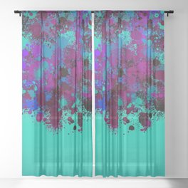 paint splatter on gradient pattern tgp Sheer Curtain