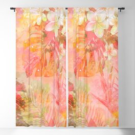 Tropical Pattern in Coral & Green Blackout Curtain