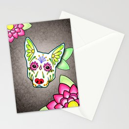German Shepherd in White - Day of the Dead Sugar Skull Dog Stationery Cards
