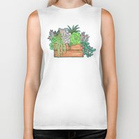 succulents Biker Tanks featuring Succulents by Little Lost Garden