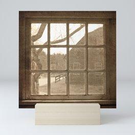 Sepia Colonial Scene Through Antique Window Mini Art Print