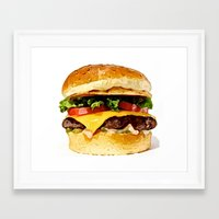 burger Framed Art Prints featuring Burger by Owl Things