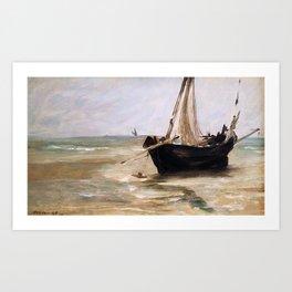 Black boat near Berck by Eduard Manet Art Print