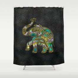 Gold Framed Elephant on Colorful Abalone decor Shower Curtain