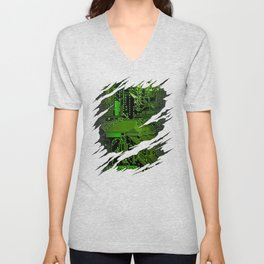 Computer Circuit Board Ripped Reveal Unisex V-Neck
