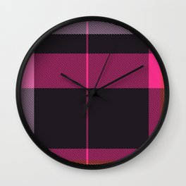 Pink Plaid Wall Clock