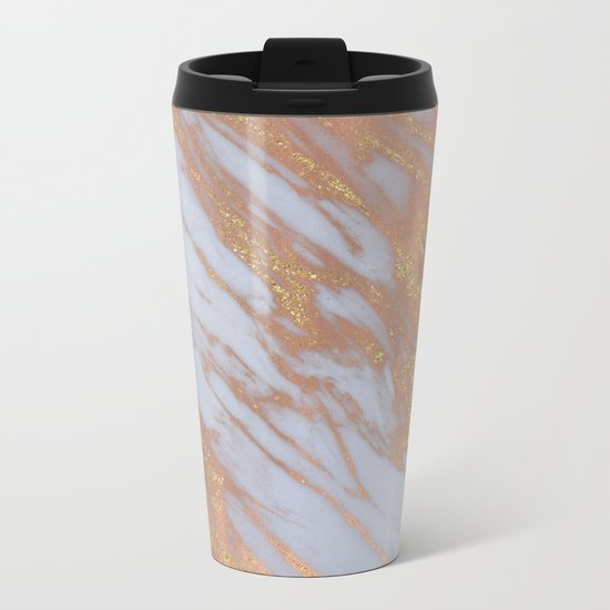 Marble - Rose Gold Marble with Yellow Gold Glitter Metal Travel Mug