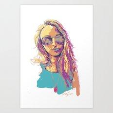 Digital Drawing #30- In White - Vinci Family  Art Print