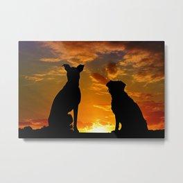 Dogs watching sunset Metal Print