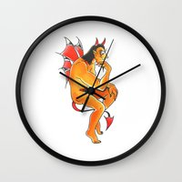 devil Wall Clocks featuring Devil  by Christopher Chouinard