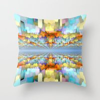 sci fi Throw Pillows featuring Sci Fi Horizons by Phil Perkins